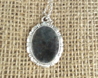 Silver Vintage Handmade Gemstone Pendant with Necklace