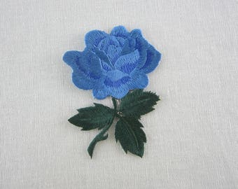 Blue Rose Patch, Iron On Flower Patches Love Series