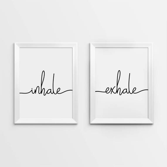Inhale Exhale Print Yoga Wall Art Pilates Relaxation Gifts Prints Breathe Bedroom