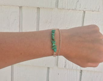 turquoise wrapped chain bracelet