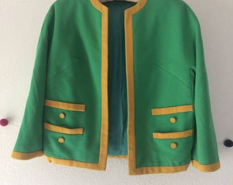 Adorable green and yellow vintage bolero jacket