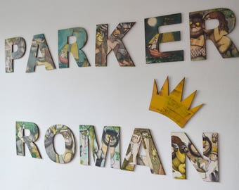 Where The Wild Things Are Name Letters & Crown, Max's Crown, Personalised Wooden Nursery Decor, Wild Rumpus Prints, Boy's Adventure Nursery