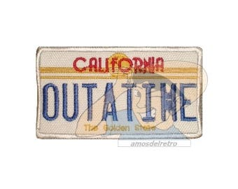 Back to the Future Delorean Licence Plate Embroidered Patch Marty McFly Dr Brown