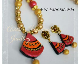 Terracotta pendant with Antique beads