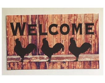 Welcome Rooster Sign - Timber Rustic Look Rooster Chicken Coop Farm Country