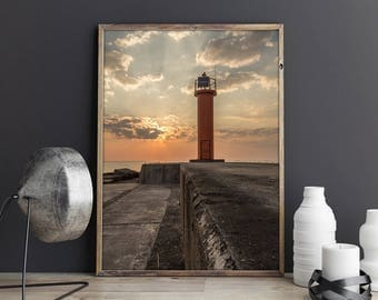 Sunset over lighthouse, golden hour, nature photography, printable art, quality poster, Latvia, colorful picture, gift for friend, colorful