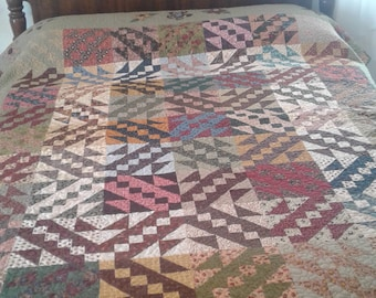 Jacob's Ladder with Flower Applique Quilt