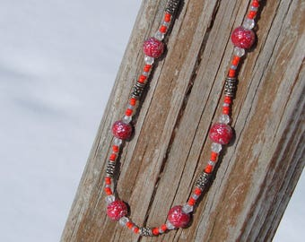 Mrs. Claus or Buckeye Red and Gray Beaded Necklace