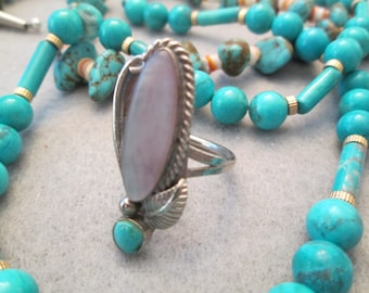 SALE>>Navajo handcrafted Sterling Ring with Genuine Mother of Pearl & Turquoise> In great condition> Simple yet So Pretty!