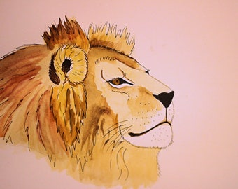 Original Watercolour Painting | King of the Pride