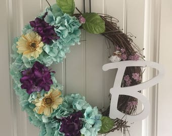 Spring Wreath with Letter