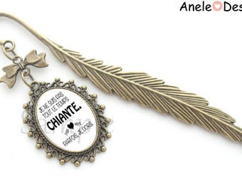 Bookmark I'm not boring all the time, sometimes I sleep - black white bronze heart feather