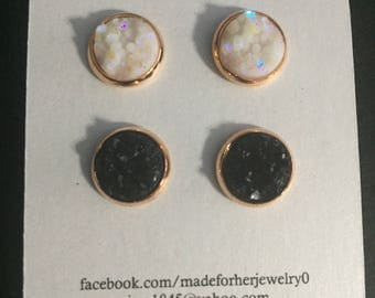 10mm white and black druzy in a rose gold setting
