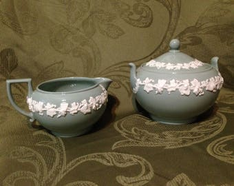 Wedgwood Green Queensware Cream and Sugar