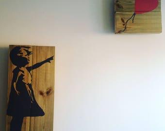 "BANKSY Girl with Ballon Wall Art 24""x 12"""