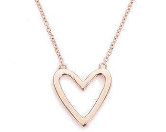 Rose Gold Open Heart Single Pendant Necklace