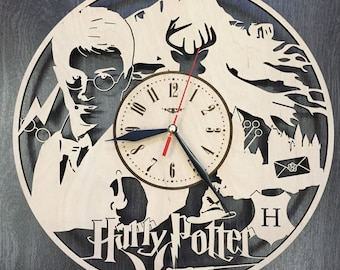 Harry Potter Decor Wood Clock Wall Wood Clock Rustic Wood Wall Art Harry Potter Wedding Gift Wall Hanging Harry Potter Wall Decal