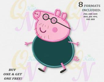 BOGO FREE! Daddy Pig applique embroidery design, Peppa Pig Machine Embroidery Designs, Embroidery designs baby, Instant Download, #038