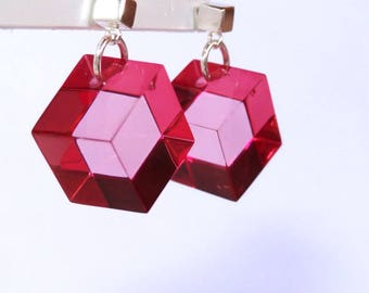 Fuchsia transparent plexiglass Cube earrings