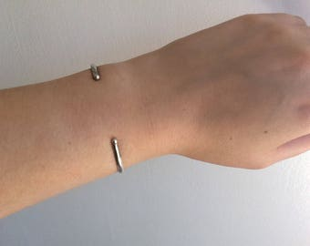 Simple ball cuff bracelet   sterling silver bracelet   minimal bracelet