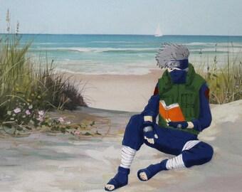 Kakashi Reading at the Beach, Naruto Painting