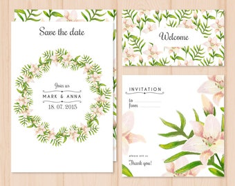 Save The Dates Card, Welcome Card, Thank You Card, Invitation Package, Printable Cards, Custom Cards, Personalized Invitations