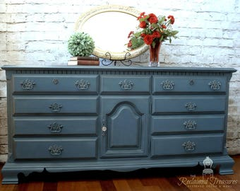 Blue Dresser 12 Drawers Updated and Painted