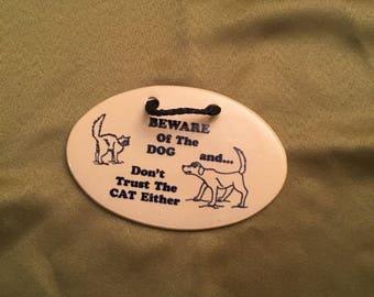 Ceramic dog & cat wall Hanging