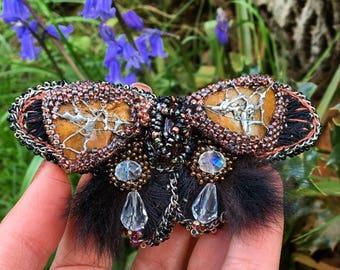 Beaded Butterfly brooch, Beadwork  Accessory, Beading Large Brooch, Bohemian Brooch,Butterfly jewellery