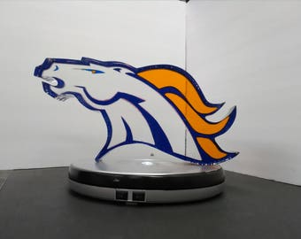 Transparent Blue and Orange Sculpted Bronco Logo