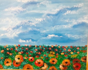 Flower Field with blue Sky Acrylic