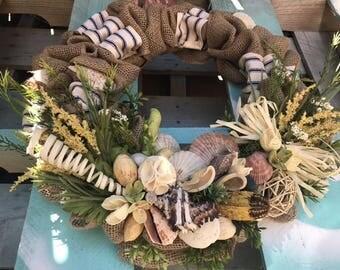 Nautical Door Wreath Summer Spring Beach Style Artificial Flowers Shells