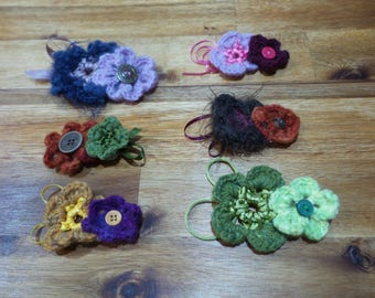 Crochet Flower Brooches - Two Flowers