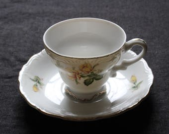 Vintage Floral Yellow Teacup and Saucer