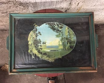 Antique Wooden Picture Fram with Artwork