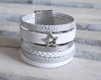 Cuff Bracelet in silver and white leather with passing Star (BR60)