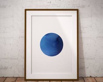 Blue planet Printable art - Instant download - Wall art - Wall decor - HAND PAINTED