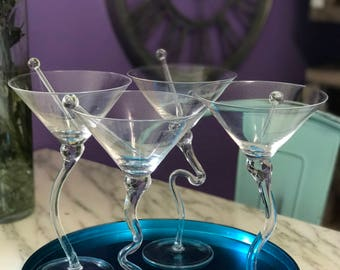 Set of Four Funky Martini Glasses