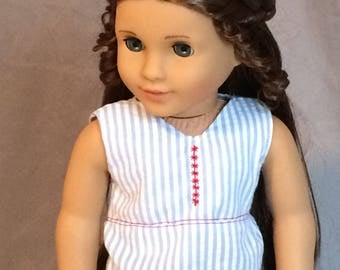 American Girl Doll Blue and White Stripe Tank Top