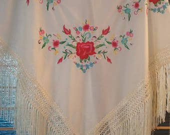 Flamenco IVORY shawl ( pico ) with multicolor embroidered design - manton bordado -