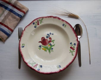 Gien faience soup plates plates French vintage Collection, hand-painted