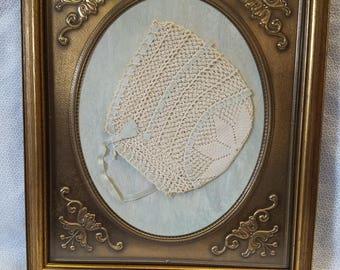 Framed Crocheted Baby Bonnet