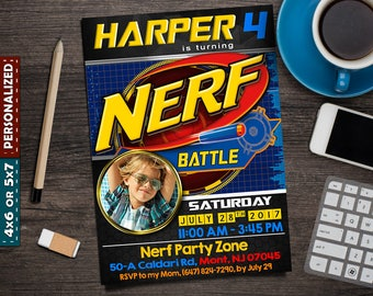 NERF Invitation - NERF Party Invitation - NERF Invite - Nerf Birthday - Nerf Birthday Invitation - Nerf Party - Nerf Birthday Invite - Nerf