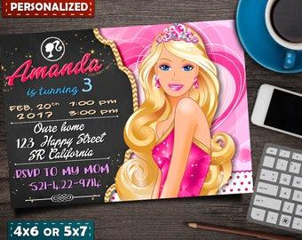 Barbie Invitation- Barbie Birthday Invitation- Barbie Party- Barbie Birthday- Barbie Printable- Barbie Invite- Barbie Card- Barbie Doll