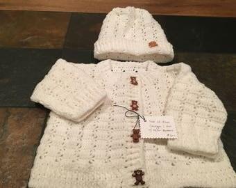 Crochet 12-18mo White Baby Cardigan & Hat