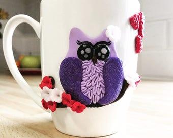 Handmade Polymer Owl tea/coffee cup. Gift Mug.