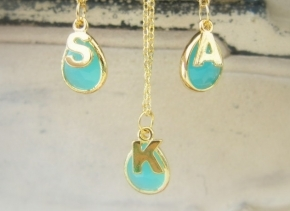 Initial Necklace Personalised Necklace Gold Silver Turquoise Bridesmaid Necklace Personalized Wedding Bridal Jewelry Name Necklace Gift C1