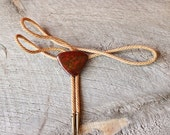 20% SALE red jasper bolo tie . natural stone bolo tie . vintage western necklace