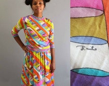 20% SALE vintage 1960's Emilio Pucci dress . cashmere & silk Pucci dress . small medium skirt and top set, vintage Pucci dress, psychedelic