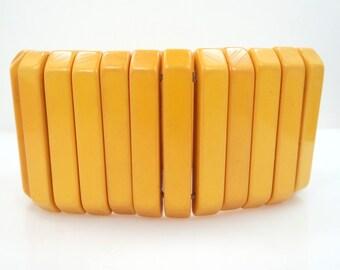 """WIDE 1 3/4"""" Butterscotch Bakelite Bracelet"""